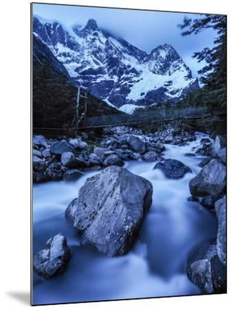 Rio Del Frances Cascades Out of the Valle Frances in Torres Del Paine National Park-Jay Dickman-Mounted Photographic Print