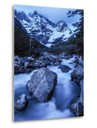 Rio Del Frances Cascades Out of the Valle Frances in Torres Del Paine National Park-Jay Dickman-Metal Print