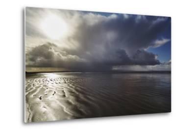 Stormy Sunlight on the Beach at Berrow, Near Burnham-On-Sea, Somerset, Great Britain-Nigel Hicks-Metal Print