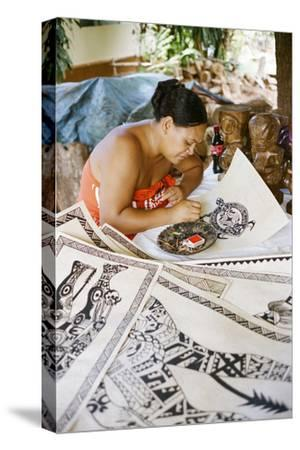 An Artist Works on Traditional Tapa Drawings-Dmitri Alexander-Stretched Canvas Print
