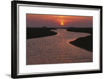 Dwelling Mounds in the Wadden Sea at Sunset-Norbert Rosing-Framed Photographic Print