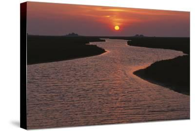 Dwelling Mounds in the Wadden Sea at Sunset-Norbert Rosing-Stretched Canvas Print