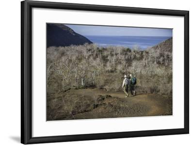 Tourists Hiking Near Darwin Lake at Tagus Cove-Jad Davenport-Framed Photographic Print