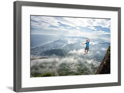 A Highliner Traverses Two Cliffs Above Rio De Janeiro-Keith Ladzinski-Framed Photographic Print