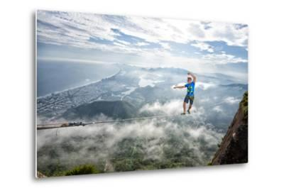 A Highliner Traverses Two Cliffs Above Rio De Janeiro-Keith Ladzinski-Metal Print