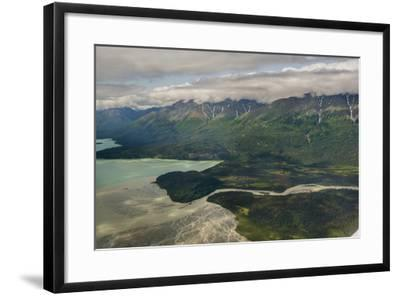 A River Muddy with Glacial Silt Pours into the Blue-Green Waters of Lake Clark-Beth Wald-Framed Photographic Print