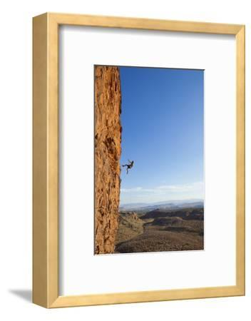 A Male Rock Climber Rappelling in Snow Canyon State Park-John Burcham-Framed Photographic Print