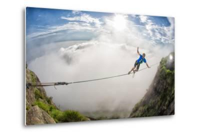 A Coastal Front Blows in While a Highliner Traverses Two Cliffs Above Rio De Janeiro-Keith Ladzinski-Metal Print