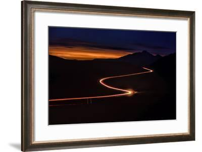 Road with Headlights and Taillights in Rocky Mountain National Park at Sunset, Colorado-Keith Ladzinski-Framed Photographic Print
