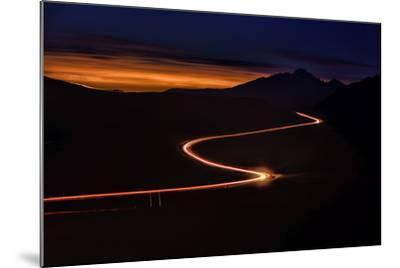 Road with Headlights and Taillights in Rocky Mountain National Park at Sunset, Colorado-Keith Ladzinski-Mounted Photographic Print