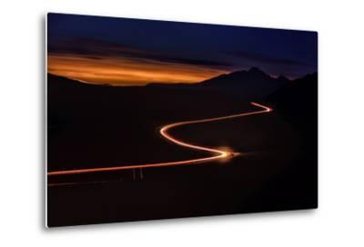 Road with Headlights and Taillights in Rocky Mountain National Park at Sunset, Colorado-Keith Ladzinski-Metal Print