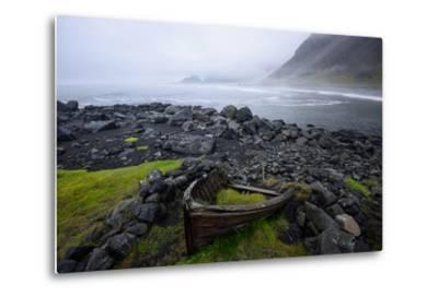 The Wreck of a Boat Rests on Stokeness Beach in Hofn, Iceland-Keith Ladzinski-Metal Print
