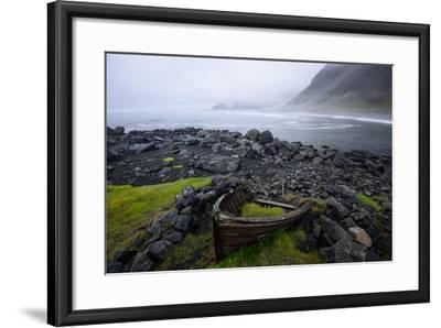 The Wreck of a Boat Rests on Stokeness Beach in Hofn, Iceland-Keith Ladzinski-Framed Photographic Print