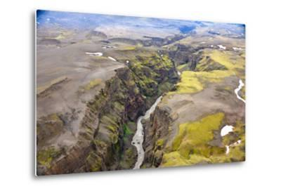 An Aerial View of a Canyon in the Interior of Southern Iceland-Keith Ladzinski-Metal Print