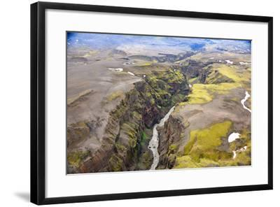 An Aerial View of a Canyon in the Interior of Southern Iceland-Keith Ladzinski-Framed Photographic Print