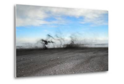 Black Sand Blows in High Winds on Basalt Beach in South Iceland-Chad Copeland-Metal Print