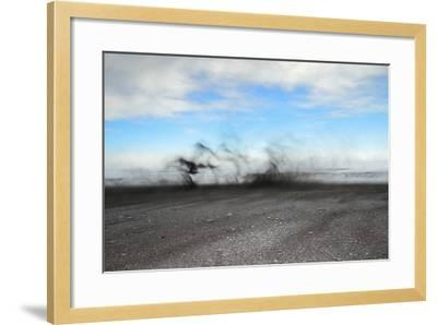 Black Sand Blows in High Winds on Basalt Beach in South Iceland-Chad Copeland-Framed Photographic Print