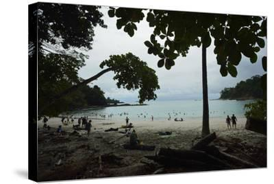 Half Moon Beach, in Manuel Antonio National Park, Costa Rica-Jonathan Kingston-Stretched Canvas Print