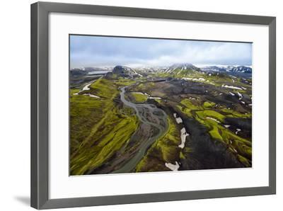 An Aerial of a Rolling Green Landscape and Streams of Glacier Runoff at Southern Iceland-Keith Ladzinski-Framed Photographic Print