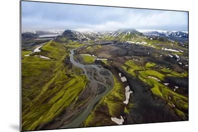An Aerial of a Rolling Green Landscape and Streams of Glacier Runoff at Southern Iceland-Keith Ladzinski-Mounted Photographic Print