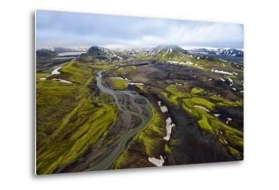 An Aerial of a Rolling Green Landscape and Streams of Glacier Runoff at Southern Iceland-Keith Ladzinski-Metal Print