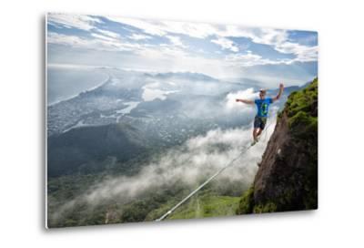A Highliner Traverses Two Cliffs Above Rio De Janeiro-Keith Ladzinski-Metal Print