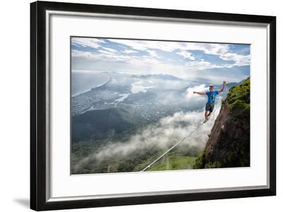 A Highliner Traverses Two Cliffs Above Rio De Janeiro-Keith Ladzinski-Framed Photographic Print