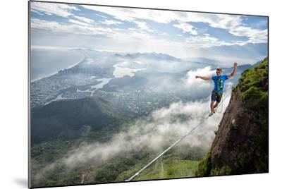 A Highliner Traverses Two Cliffs Above Rio De Janeiro-Keith Ladzinski-Mounted Photographic Print