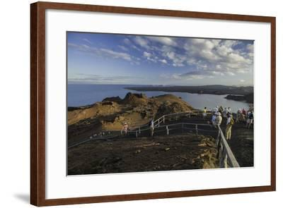 A Group of Tourists Hiking on Bartolome Island-Jad Davenport-Framed Photographic Print
