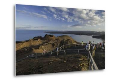 A Group of Tourists Hiking on Bartolome Island-Jad Davenport-Metal Print