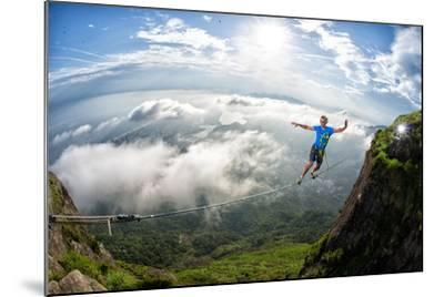 A Highliner Traverses Two Cliffs Above Rio De Janeiro-Keith Ladzinski-Mounted Photographic Print