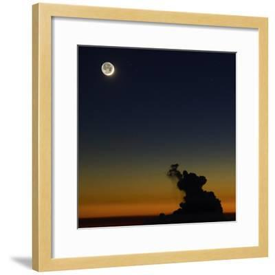 Full Moon in Sky with Colorful Twilight Horizon from the Summit of Haleakala, Hawaii-Babak Tafreshi-Framed Photographic Print