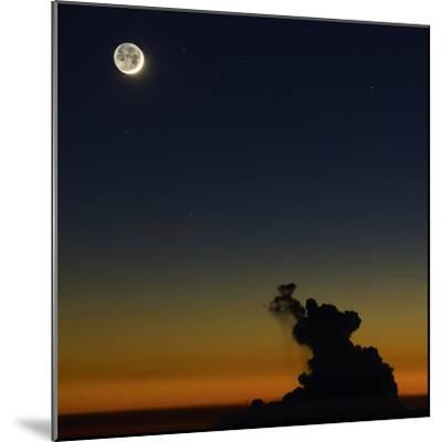 Full Moon in Sky with Colorful Twilight Horizon from the Summit of Haleakala, Hawaii-Babak Tafreshi-Mounted Photographic Print