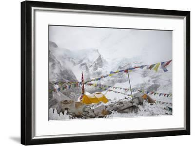 Tents and Prayer Flags at Base Camp-Max Lowe-Framed Photographic Print