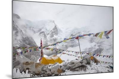 Tents and Prayer Flags at Base Camp-Max Lowe-Mounted Photographic Print