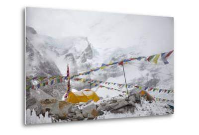 Tents and Prayer Flags at Base Camp-Max Lowe-Metal Print