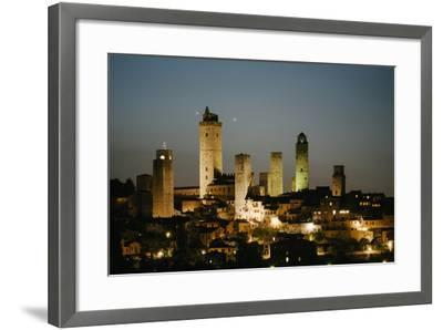 The Medieval Town of San Gimignano at Night-Matt Propert-Framed Photographic Print