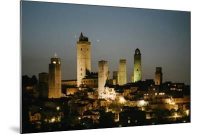 The Medieval Town of San Gimignano at Night-Matt Propert-Mounted Photographic Print