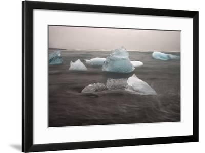 Icebergs on Black Sand Beach-Raul Touzon-Framed Photographic Print