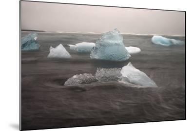 Icebergs on Black Sand Beach-Raul Touzon-Mounted Photographic Print