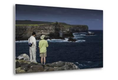 Tourists Looking at the Sea Cliffs of Espanola Island-Jad Davenport-Metal Print