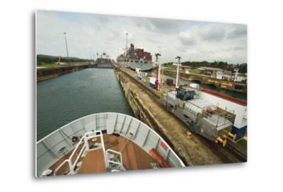 The Bow of a Small Passenger Ship as it Transits the Gatun Locks, Guided by a Metal Mule-Jonathan Kingston-Metal Print