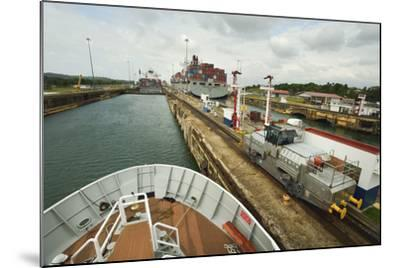 The Bow of a Small Passenger Ship as it Transits the Gatun Locks, Guided by a Metal Mule-Jonathan Kingston-Mounted Photographic Print