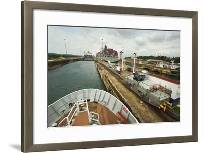 The Bow of a Small Passenger Ship as it Transits the Gatun Locks, Guided by a Metal Mule-Jonathan Kingston-Framed Photographic Print