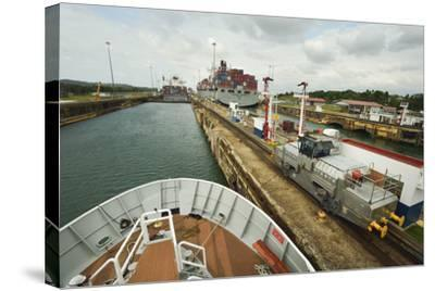 The Bow of a Small Passenger Ship as it Transits the Gatun Locks, Guided by a Metal Mule-Jonathan Kingston-Stretched Canvas Print