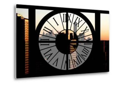Giant Clock Window - City View at Sunset with the One World Trade Center-Philippe Hugonnard-Metal Print