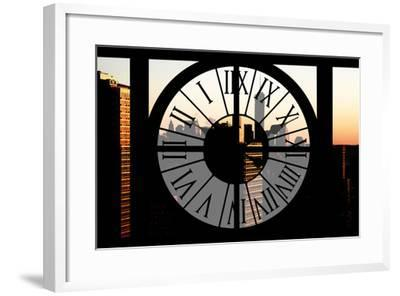 Giant Clock Window - City View at Sunset with the One World Trade Center-Philippe Hugonnard-Framed Photographic Print