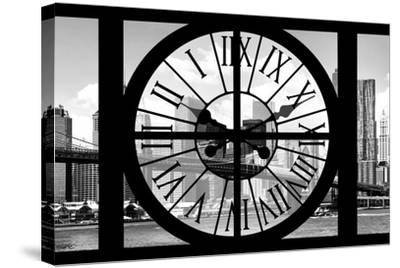 Giant Clock Window - City View with Brooklyn Bridge - New York City III-Philippe Hugonnard-Stretched Canvas Print