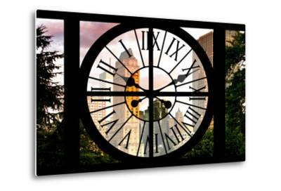 Giant Clock Window - View of Central Park Buildings at Sunset IV-Philippe Hugonnard-Metal Print