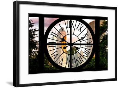 Giant Clock Window - View of Central Park Buildings at Sunset IV-Philippe Hugonnard-Framed Photographic Print